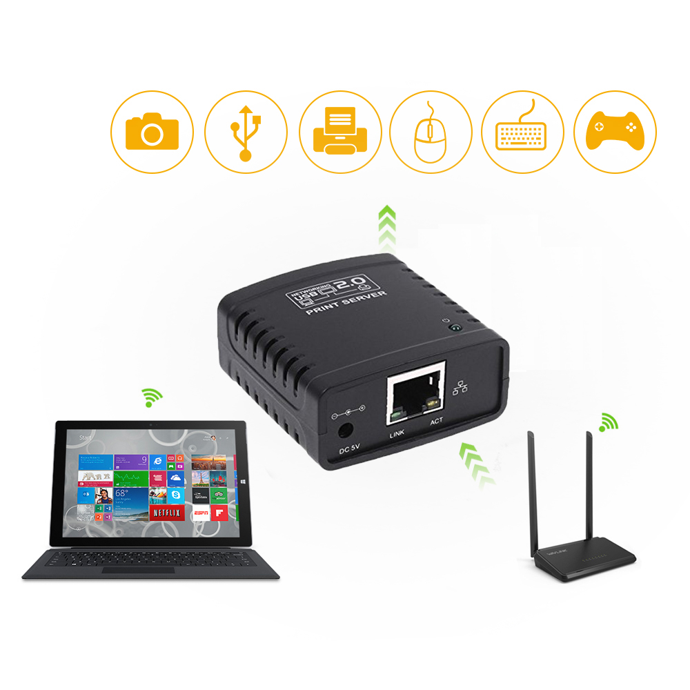 Image 5 - USB 2.0 LRP Print Server Share a LAN Ethernet Networking Printers Power Adapter USB HUB 100Mbps Network Print Server-in Print Servers from Computer & Office