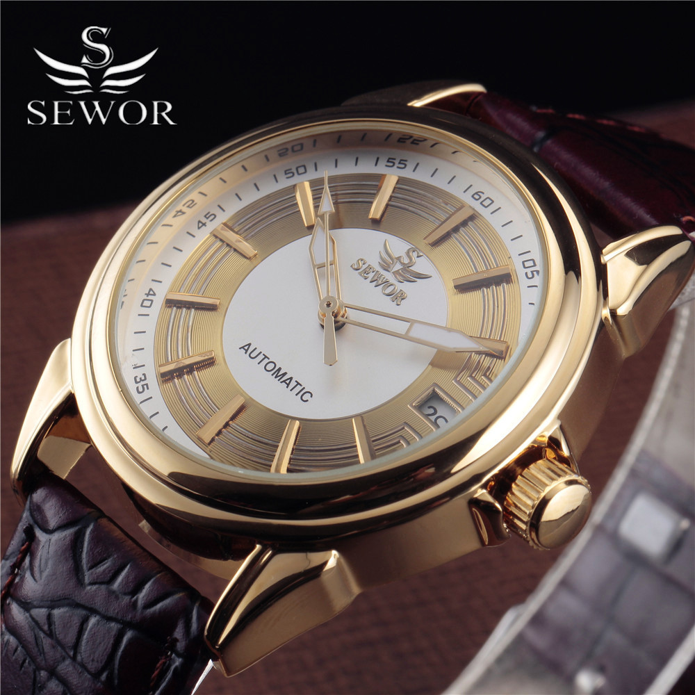 New Fashion Gold Silver Classic SEWOR Men Clock Luxury Casual Leather Band Auto Date Mechanical Automatic Wrist Watches Mens 2017 auto date fashion classic black leather band analog mens casual clock simple design watch men automatic mechanical watch