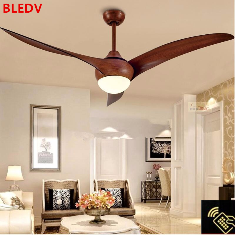 52 Inch Nordic Brown Vintage Ceiling Fan With Lights