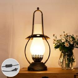 Europejska retro brązujący podstawa lampy matowe szkło lampy stołowe antyczne nafta lampa E27 LED żelaza lampy dla bar i lampki nocne i foyer LDK021