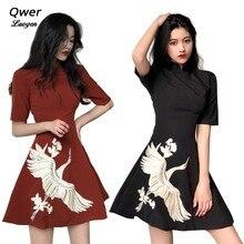 2019 New Japanese Harajuku Vintage Lolita Dresses Fashion Women Girls Crane Embroidery Black Red Chinese Style Cheongsam Dress