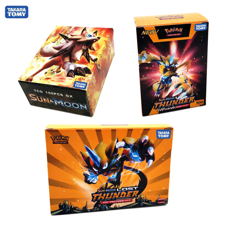 Tomy Pokemon 60 100 200PCS GX EX MEGA Cover Flash Card 3D Version SUN&MOON LOST THUNDER Cards Collectible Gift Children Toy