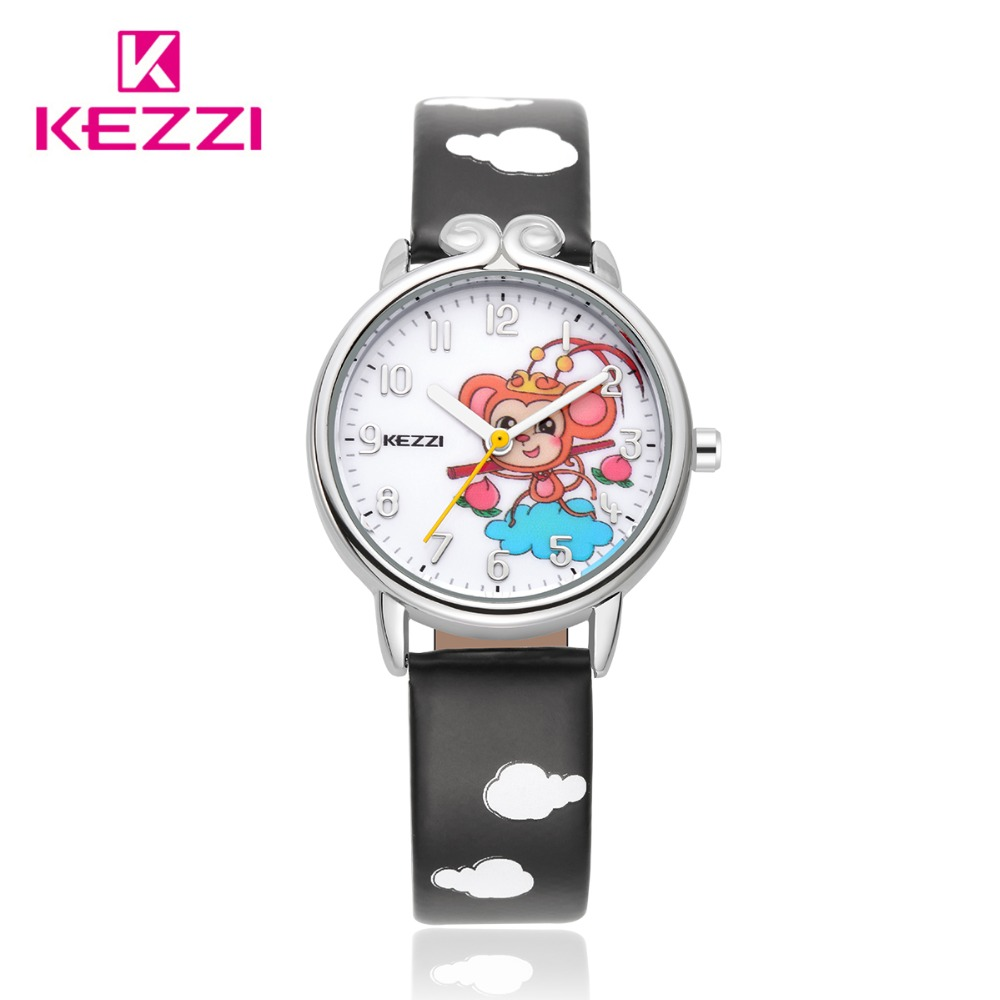 2016 Kezzi Top Brand Kids Children Watches Fashion Cute Cartoon Monkey King Quartz Analog Leather Strap Wrist quartz Watc K1558