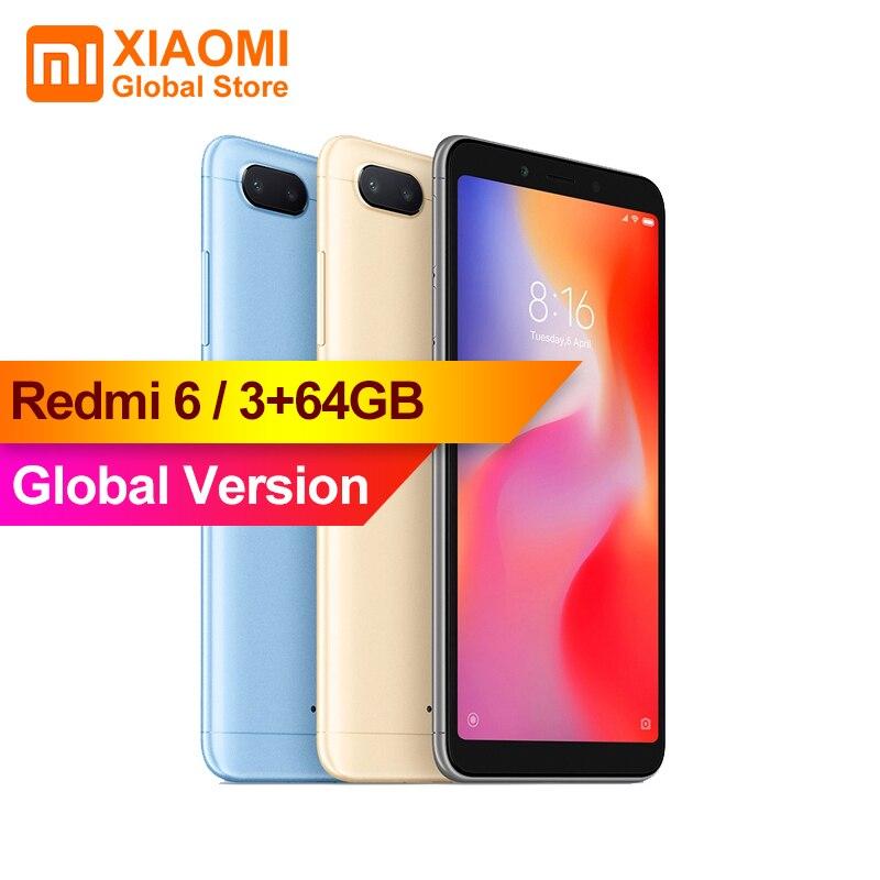 Global Version Redmi 6 3GB 64GB 12MP + 5MP AI Dual Camera 5.45 HD Full Screen Display Phone AI face unlock Smartphone