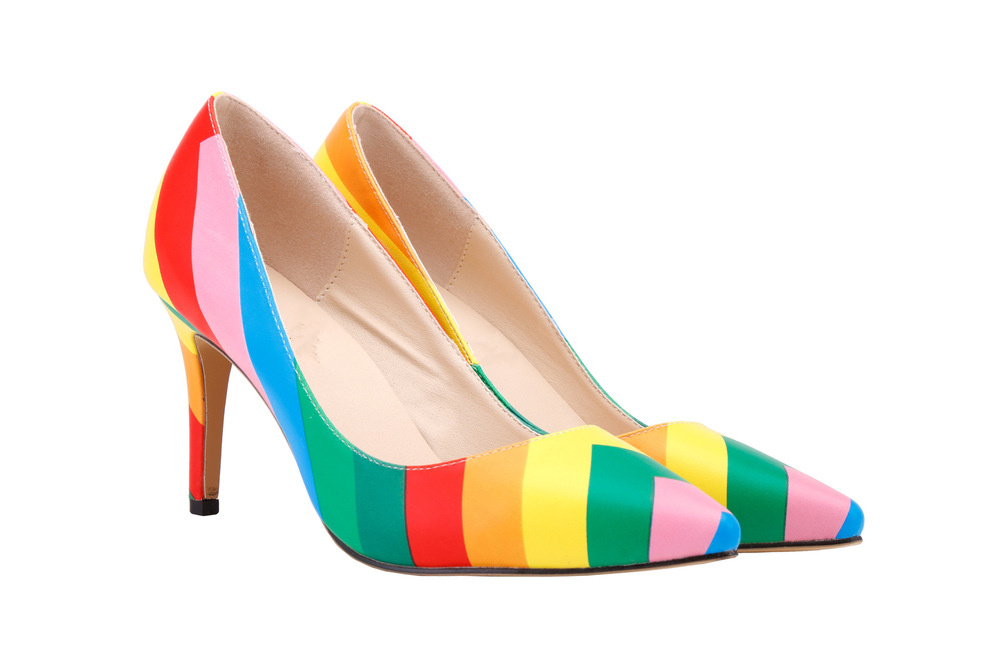 e434e801ba038d TINGHON Plus size 35-43 Summer Design damen schuhe Women s Rainbow Pumps  Pointed Sandals Elegant Party Stiletto Shoes zapatos