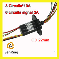 Mini Capsule Slip Ring With Flange Rotating OD 22mm 3 Circuits 10A And 2A Signal Current