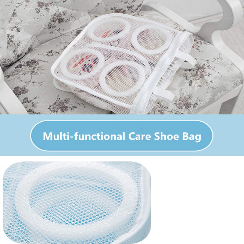 1Pc New Mesh Laundry Bag Sneaker Running Shoes Protect Washing Bag Lazy Wash Shoes Home Storage Organizer Cleaning Tools