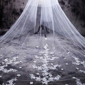 Image 3 - ใหม่ร้อน velos de novia 3 เมตร 2T White & Ivory Lace Appliques Rhinstones Purfle ยาวแต่งงาน Wedding Veils หวี