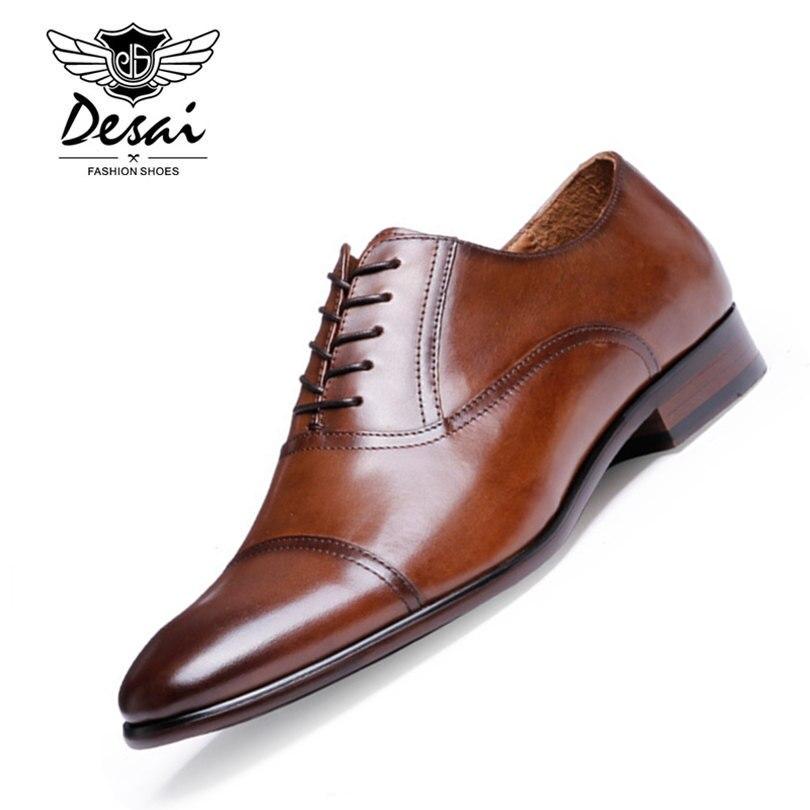 DESAI бренд из натуральной нешлифованной кожи Бизнес Мужские модельные туфли ретро Лакированная кожа туфли-оксфорды для мужчин Размеры ЕС 38-47