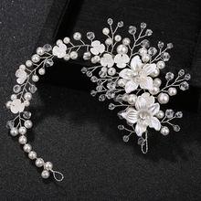 Женский обруч для волос свадебный с жемчужинами и цветами украшение