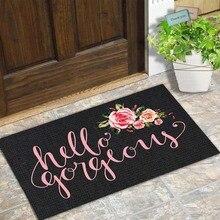 Коврик для входной двери, забавный напольный мат Hello Великолепный цветочный дизайн, для помещений и улицы, из нетканого материала, размер 18x30 дюймов