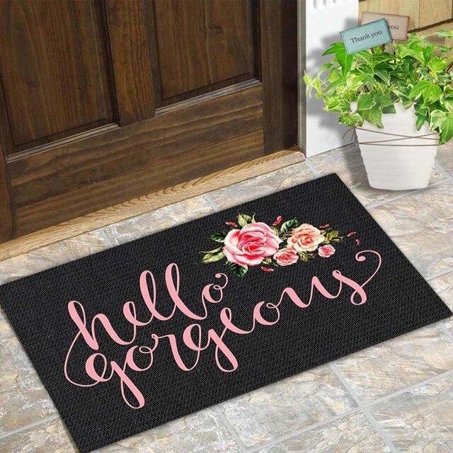 """Tür Matte Eingang Boden Matte Hallo Wunderschöne Blume Entwickelt Lustige Indoor Outdoor Fußmatte Nicht woven Stoff Top 18 """"x30"""""""