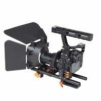 DSLR видео стабилизатор фильм видеосъемки Камера клетка с 15 мм стержень Системы Рог Комплект для sony A7/A7II /A7s/A7r/A7Rii Panasonic GH4