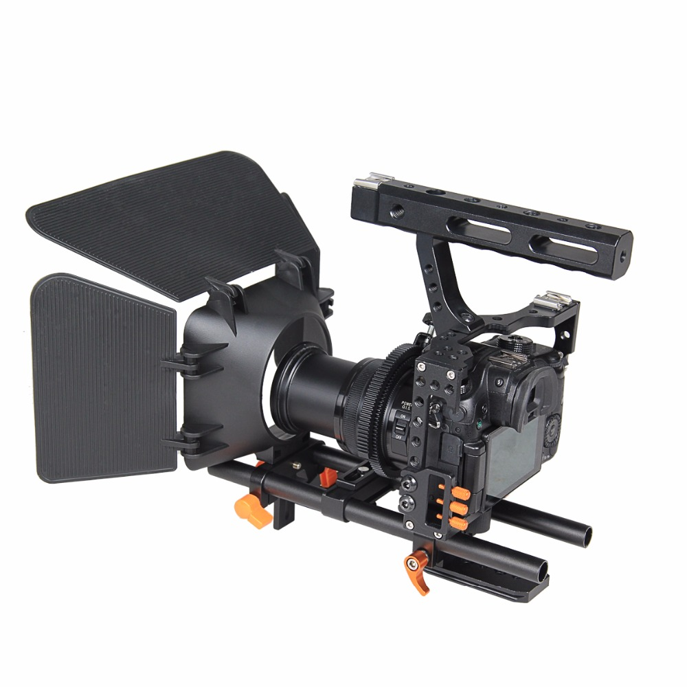 DSLR Video Stabilizer Film Movie Making Camera Cage with 15mm Rod System Rig Kit for Sony A7/A7II/A7s/A7r/A7Rii Panasonic GH4