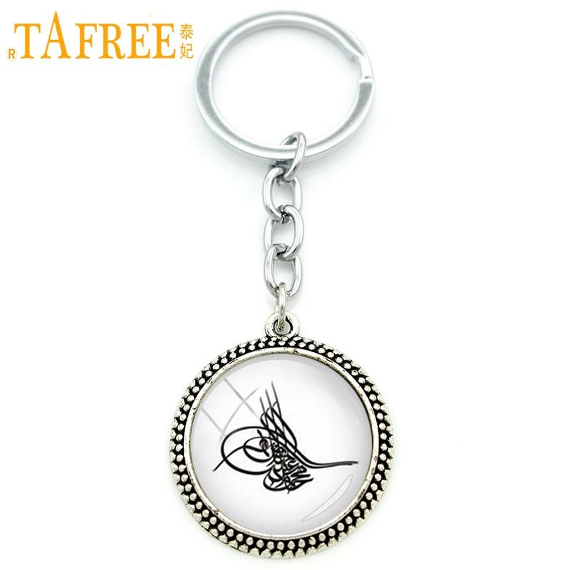 TAFREE Vintage Nation Logo Men Keychain Tugra Image Art Osmanli LOGO Tugra Pendant Key Ring Jewelry National Day Gift KC575