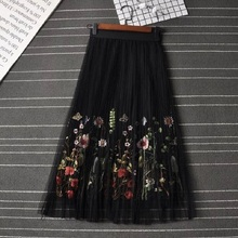 2018 New Puff Women Mesh Tulle long Skirt Fashion Vintage Pleated Floral Embroidery Elegant Female Tutu Mid-Calf Skirts