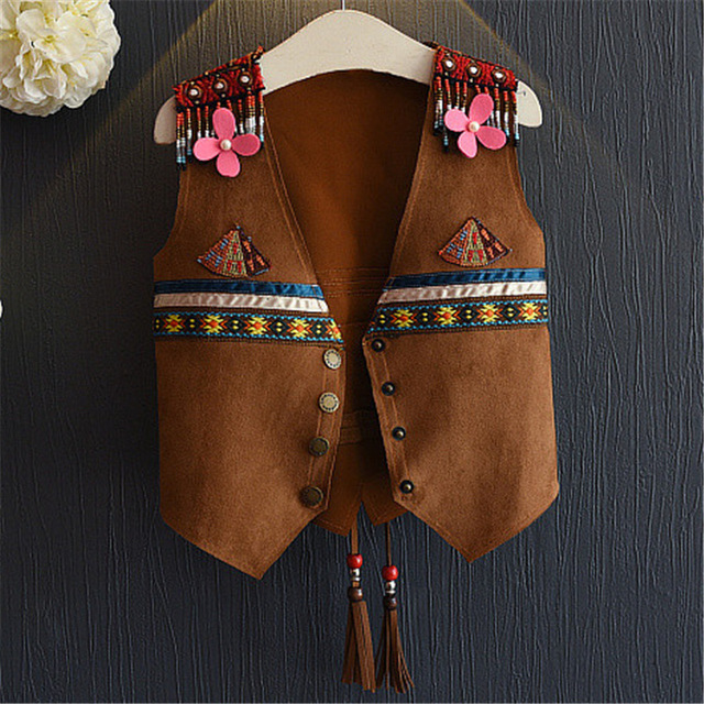 Fashion Beaded Girls Tassel Vest Bohemian Style Spring Baby Infant Girl Fringed Suede Vests Kids traditional Waistcoat Age 2-6Y