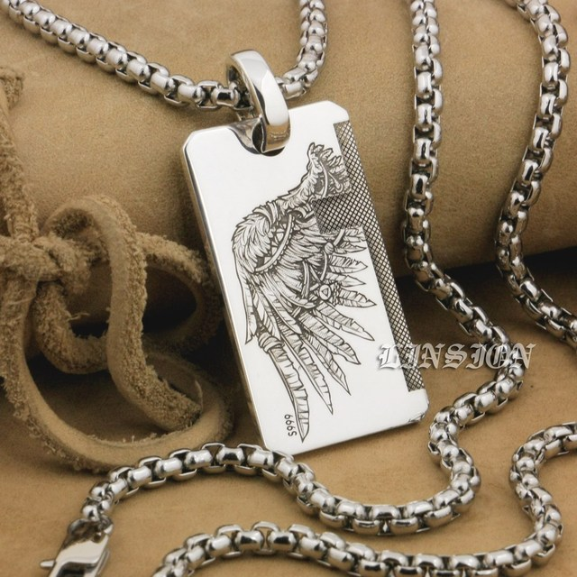 LINSION Handmade 999 Pure Silver Angel Wing Devil Wing 2 Sides Charms Pendant 9X021