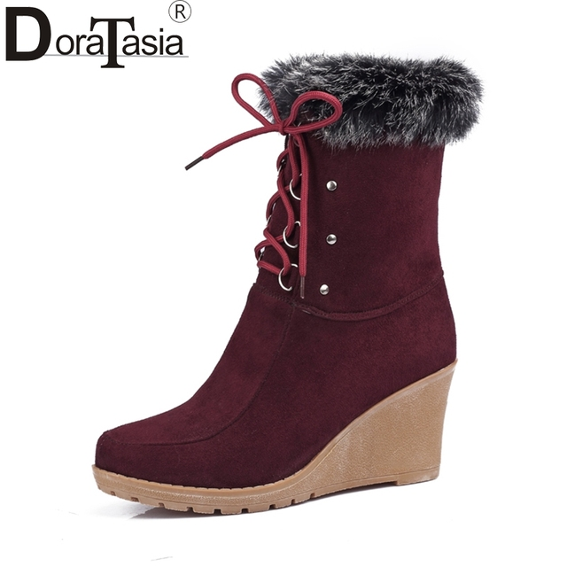 b46308a8122 DoraTasia Women Ankle Boots High Heel Wedge Shoes Woman Lace Up Rabbit Fur  Footwear Ladis Faux Suede Platform Snow Botas Mujer