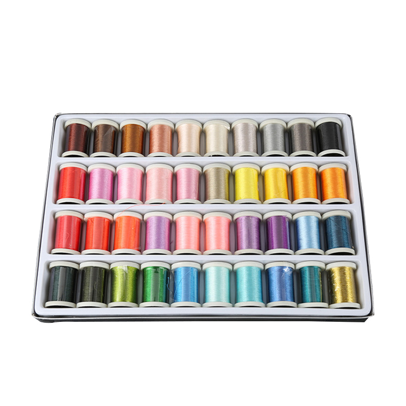Colorful 40 Colors Reels Embroidery Machine Sewing Thread Knitting Yarn Spool Craft Embroidery Thread Floss Kit DIY Sewing Tools