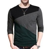 New 2017 Spring T Shirt Men Fashion Long Sleeve Slim Round Neck Stitching Cotton T Shrit