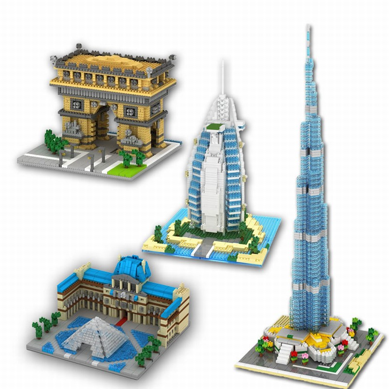 World Famous Building Diamond Block Toy Children DIY Burj Dubai Burj Al Arab Hotel Triumphal Arch Model Building Kit стоимость