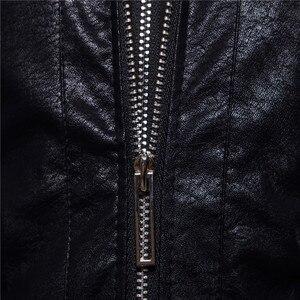 """Image 4 - רוכסן כפול עיצוב חורף סלעית עור בגדי מעיל גברים של מותג אופנה חדש עור jacket Slim fit האיחוד האירופי/ ארה""""ב גדול גודל"""
