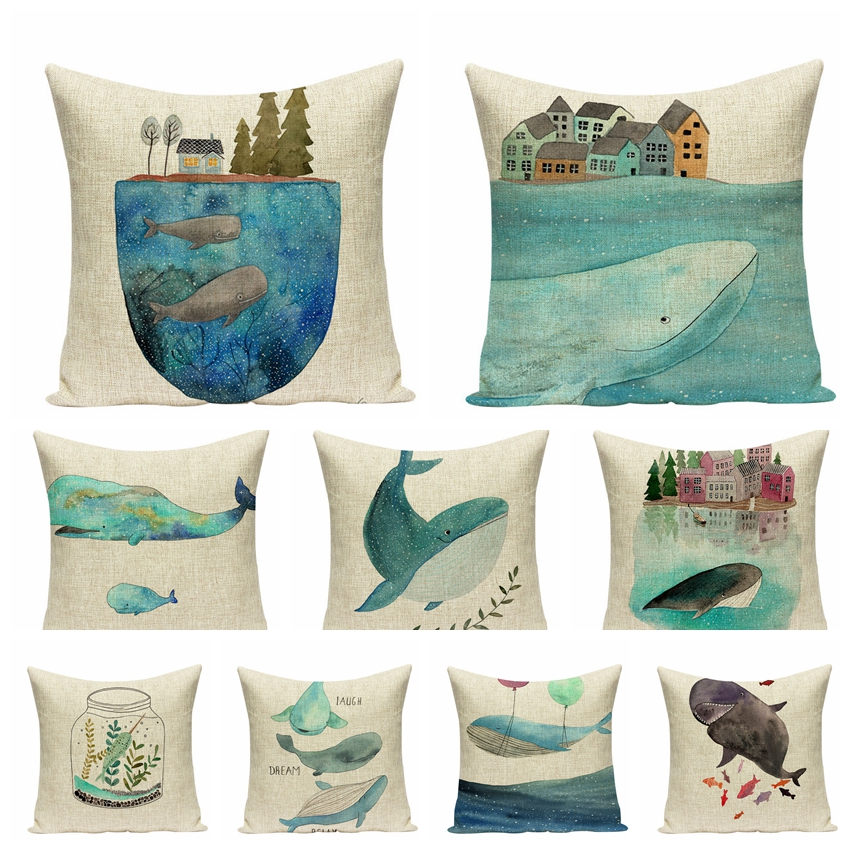 Mediterranean Cotton Linen Printed Square Pillowcase Cartoon Whale Cushions Home Decor Decorative Pillow Sofa Throw Pillows