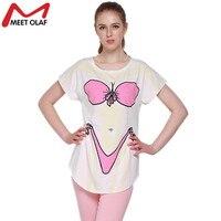 Для женщин белый boob смешные футболки 3D бикини бюстгальтер печати Повседневное длинные футболки короткий рукав o-образным вырезом Пуловеры ...