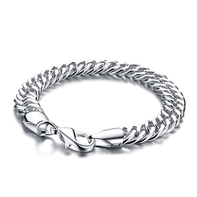 Fashion Solid Design 925 Sterling Silver Bracelet Jewelry Pure 10mm 20cm Men Boy