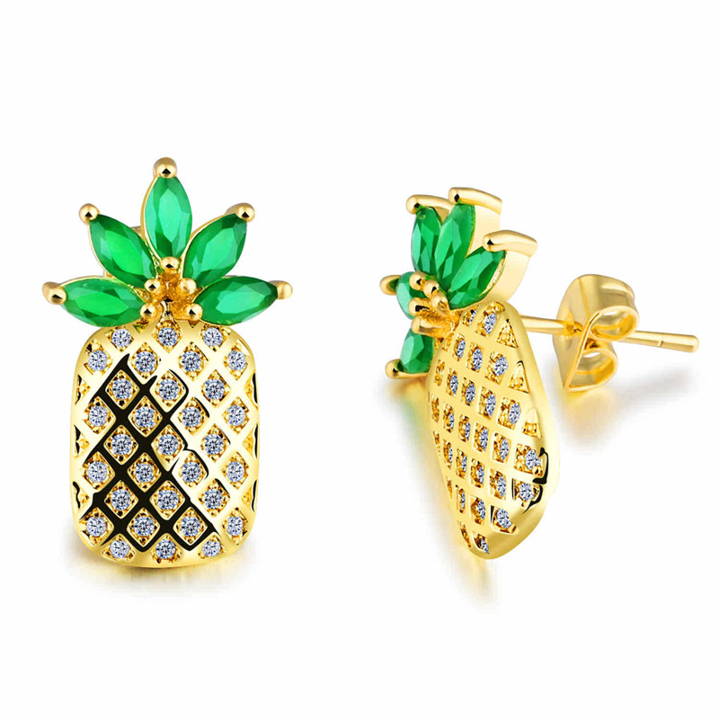 Fashion Jewelery Fruit Pineapple Stud Earrings Women Sweet Romantic Gifts Not Sensitive Girls Cubic Zirconia Stud Earrings