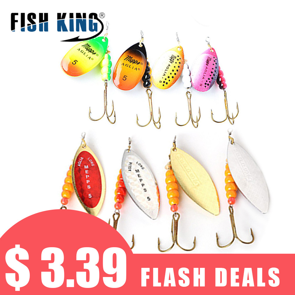 FISH KING 4Pcs/Lot Mepps Spinner Bait Size 1#2#3#4#5# Fishing Lures Spoon With Treble Hook Hard Fake Fish Metal Lures Set голубая рубашка