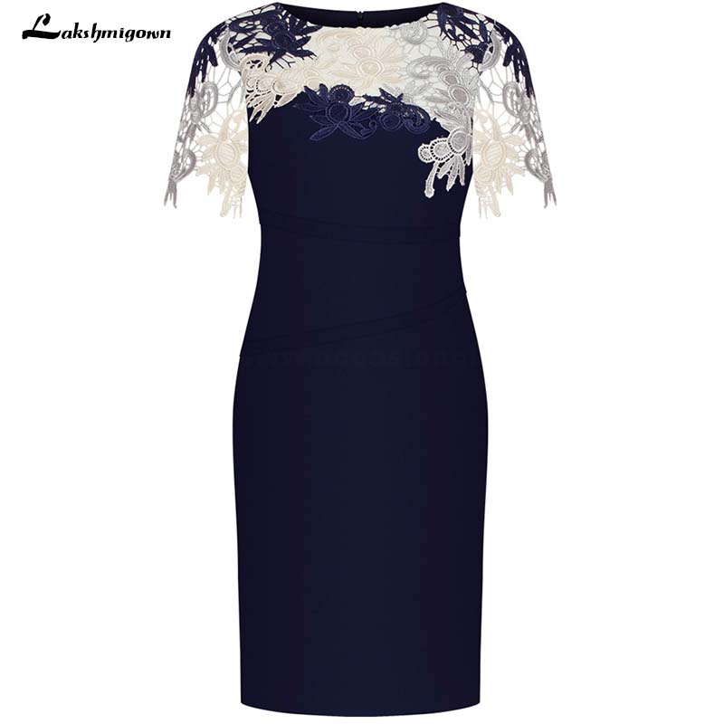 Sheath Round Neck Short Sleeves Dark Blue Mother Of The Bride Dress With Lace Appliques