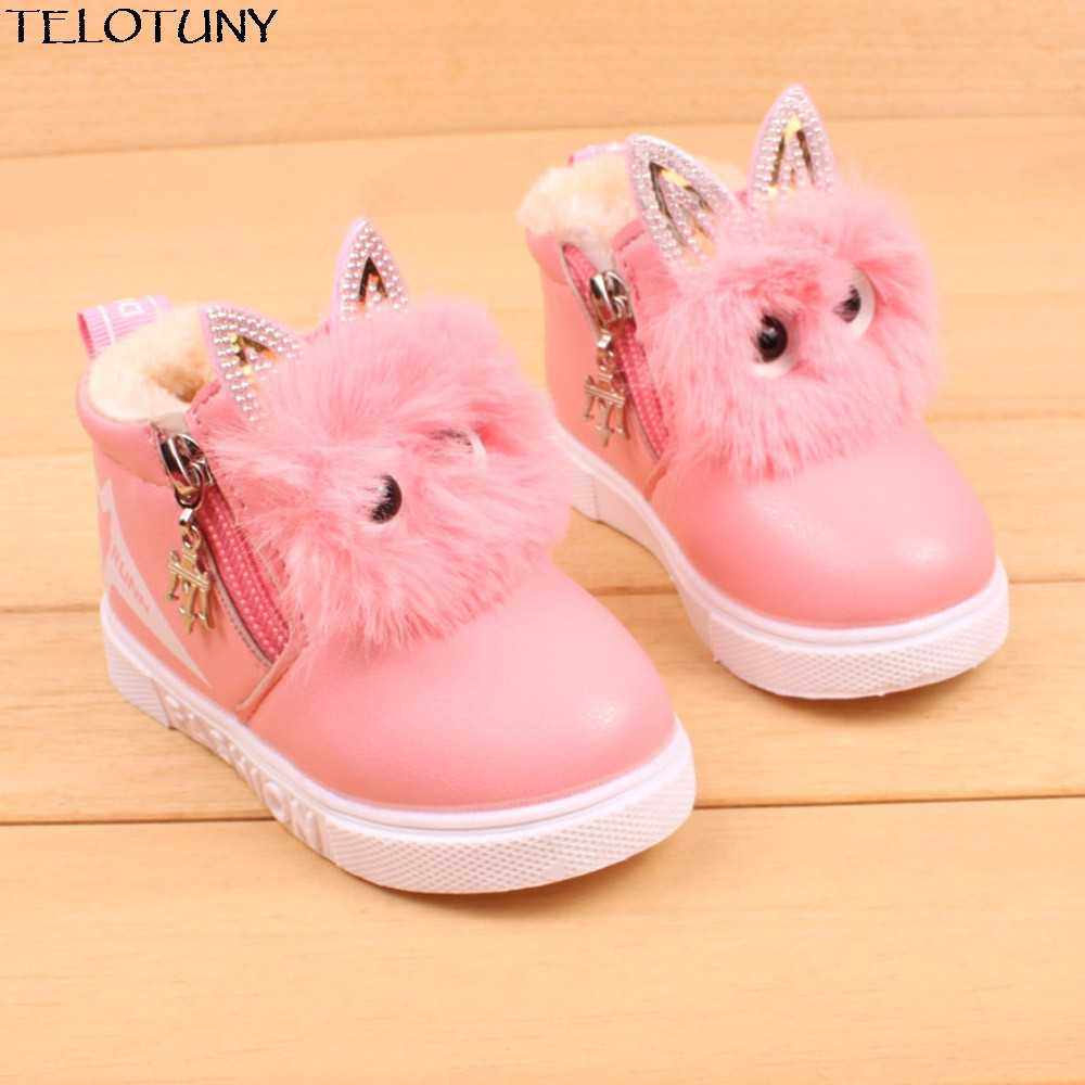 Winter Warm baby PU leather boots Children Fashion Boys Girls Sneaker Boots Kid Warm Baby Casual Shoes Lovely Soft YE29