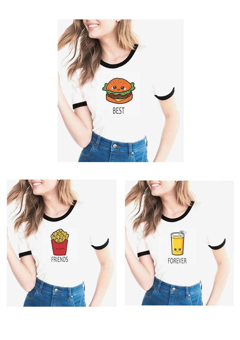 04ae86719 women white tshirts funny friends TV t-shirt Harajuku Kawaii Hamburger  Fries juice t shirt