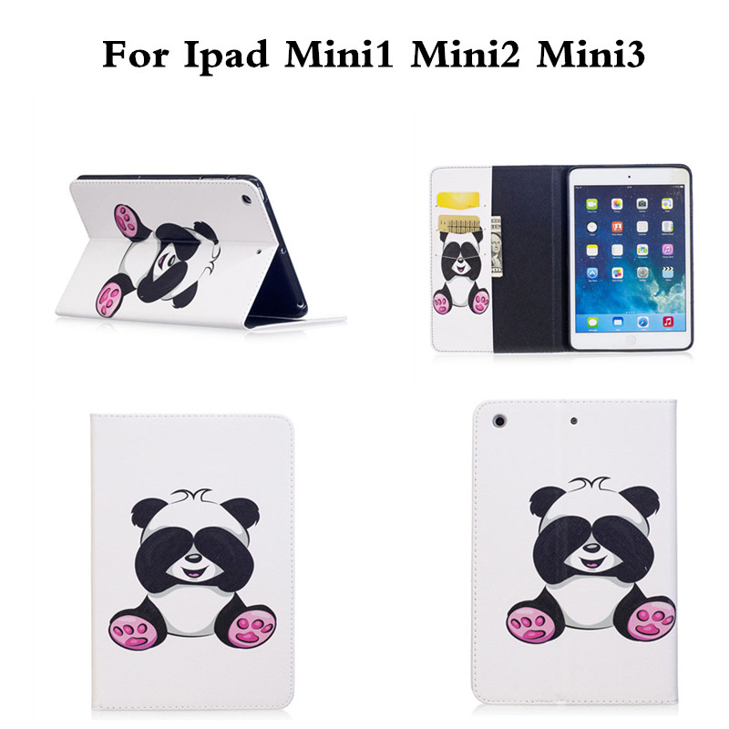 Butterfly OWI Panda Painting PU Leather Flip Case For Apple iPad Mini 1 2 3 Cases W/Stand Cover For ipad Mini2 Mini3 Tablet Case blue butterfly flower mini4 mini2 mini3 flip cover for ipad pro 9 7 air air2 mini 1 2 3 4 tablet case protective shell