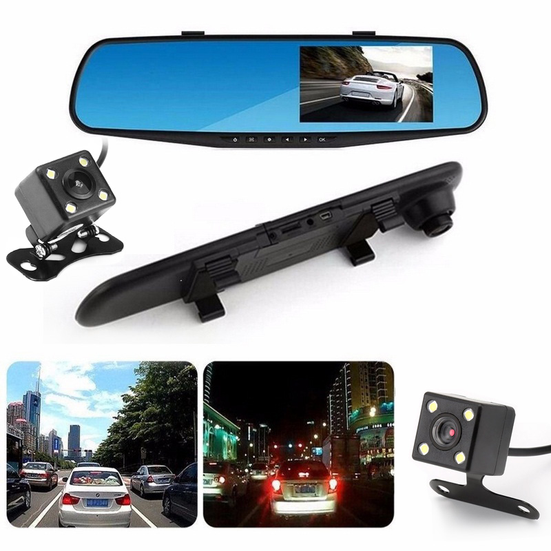 Full HD 1080P Car Dvr Dash Camera Mirror 4.3 Inch LCD Auto Recorder Camera Rearview Mirror Digital Video Dual Lens Camcorder