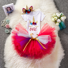 Toddler Girls 1st Birthday Outfits Kids Summer Tutu Clothes Unicorn Flower Dress Bebes Party Vestidos Baby Christening Costume