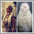 Косплей Парики Для Девушки Длинные Вьющиеся Косы Блондинка Парики Косплей Игра престолов Daenerys Targaryen Волокна Синтетические Волосы, Парики