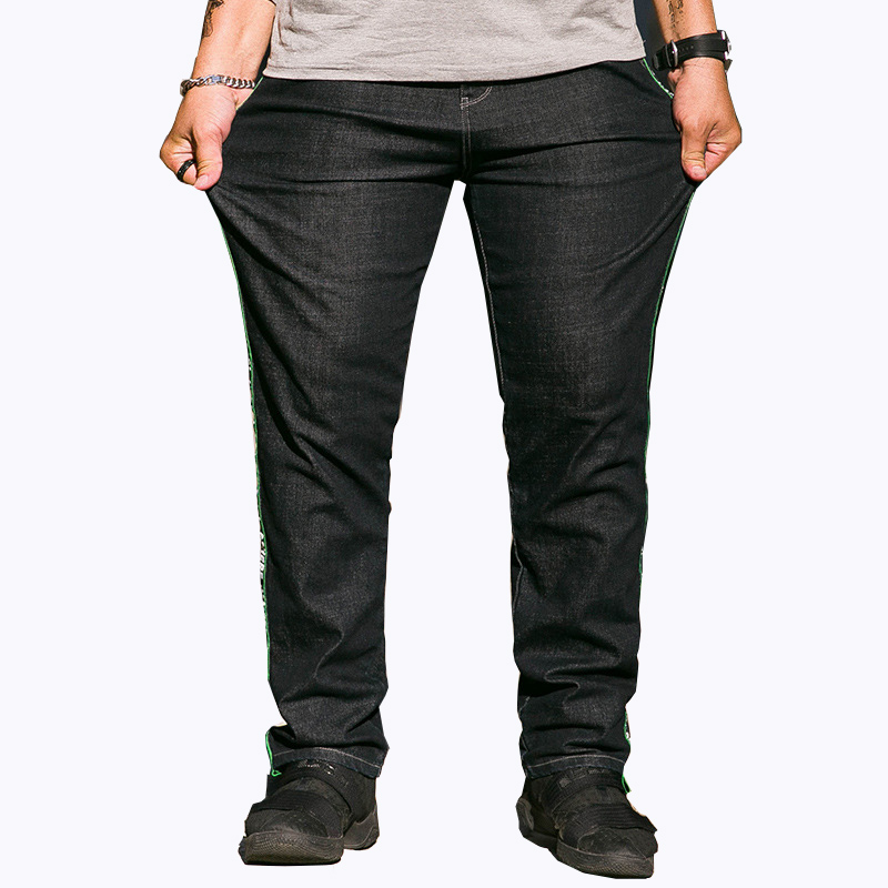 Mens Cotton Jeans Holes Denim Pants Regular Straight Loose personality Washed Big Size for Male Casual trousers 30-42 44 46 48 moruancle men s baggy cargo jeans pants loose straight tactical denim trousers for big and tall size 29 46 side zipper pockets