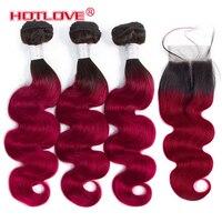Hotlove объемная волна Ombre волос бразильский 3 Связки с закрытием 4*4 закрытия шнурка не Реми Пряди человеческих волос для наращивания T1B/ бордовы
