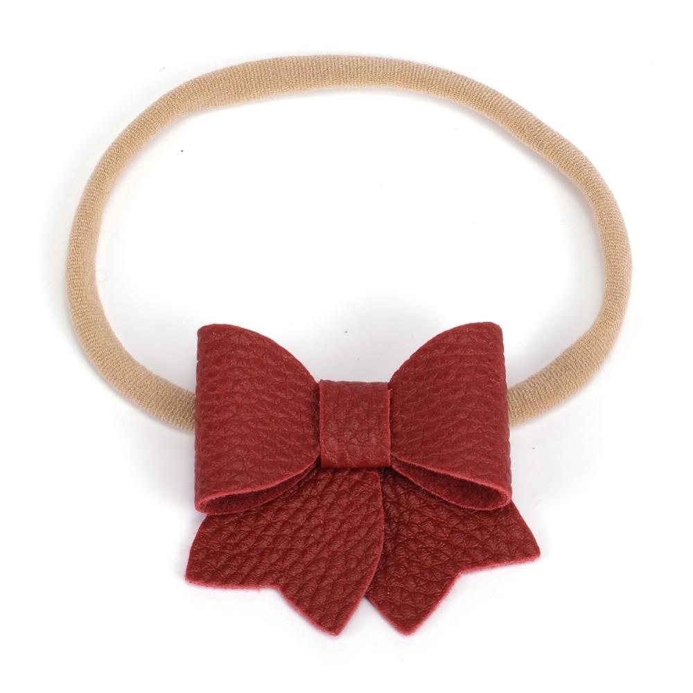 2.5 inch Faux Leather Bow on Elastic Headband