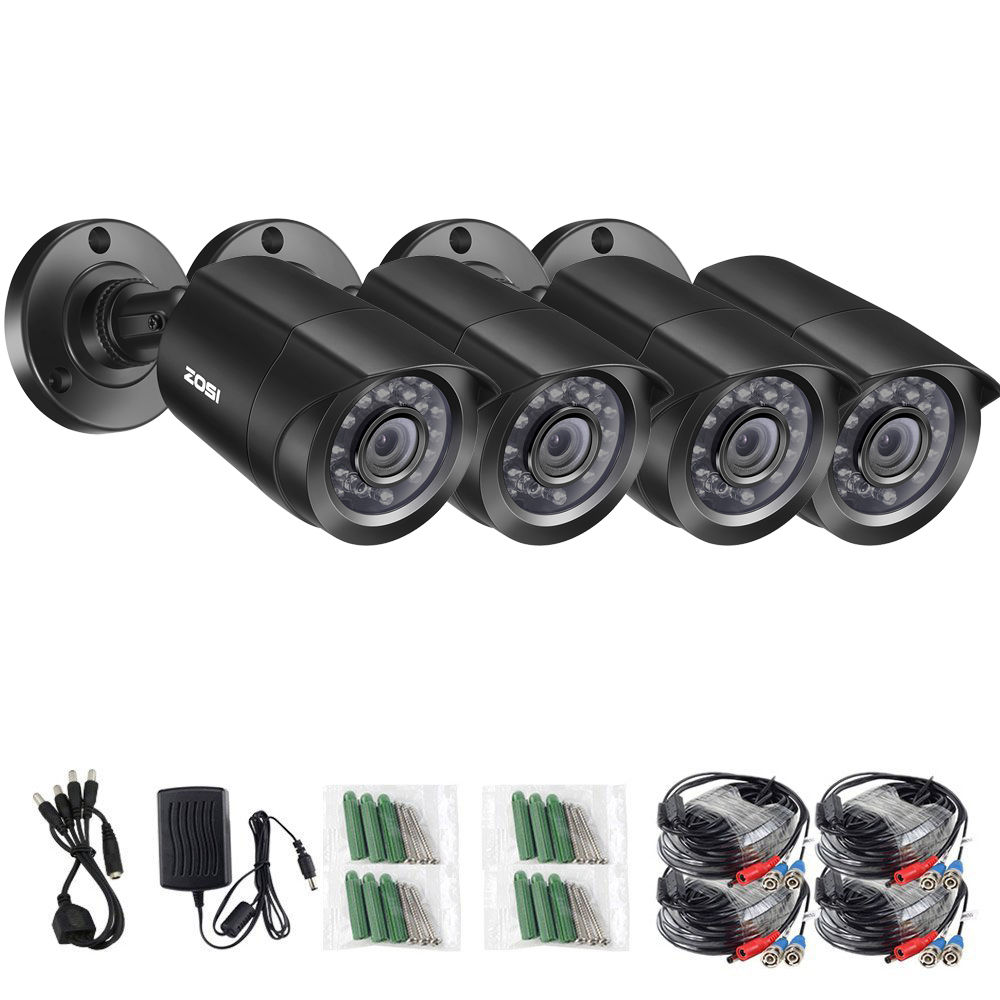 ZOSI 4 PCS Bullet 720P CCTV Video Waterproof Camera IR Nightvision 1MP Window CCTV Security Cable