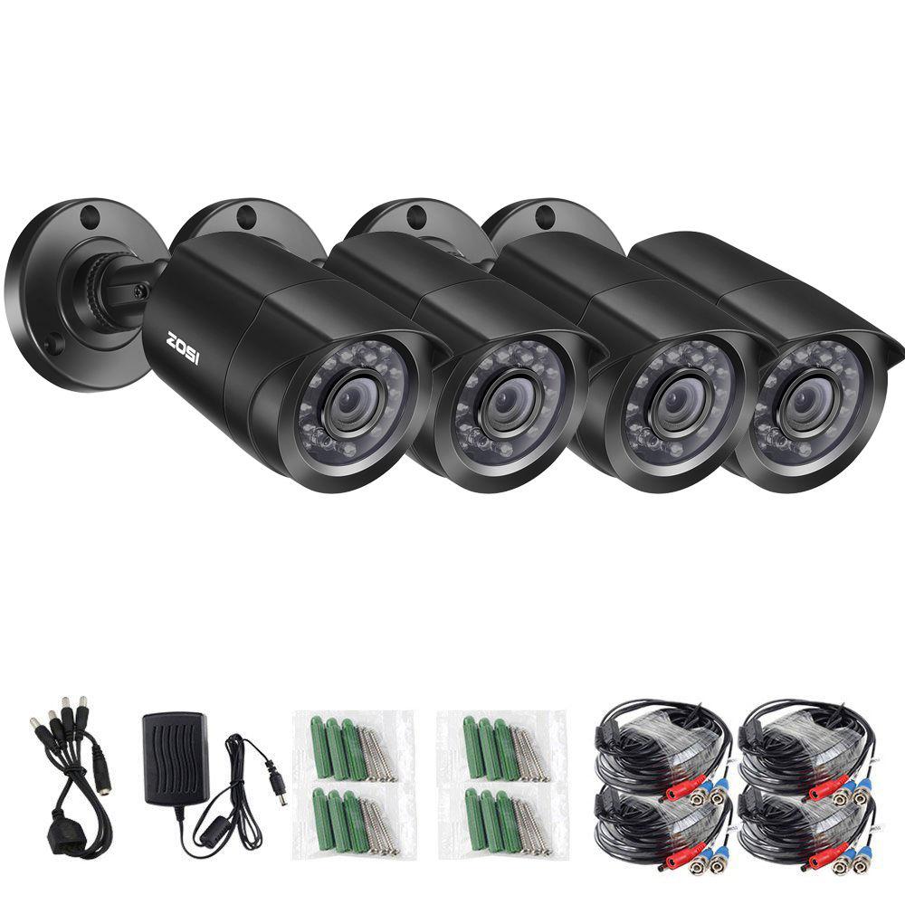 ZOSI 4pcs Bullet 720P CCTV Camera IR Night IP65 1.0mp Outdoor/Indoor CCTV Security Surveillance Camera with 4pcs 60ft BNC Cables micro bullet seurity surveillance bullet ccd camera with headset holder
