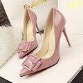 SMYDS-A0028 Novo 2016 Moda sapatos de Salto Alto Mulheres Bombas Four Season Mulheres Borboleta Couro Envernizado Sapatos de Casamento Mulher 6 Cores Bomba