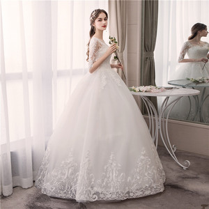 Image 4 - EZKUNTZA O Neck Half Sleeve Wedding Dress Fashion Slim Lace Embroidery Lace Up Plus Size Custom Made Wedding Gown Robe De Mariee