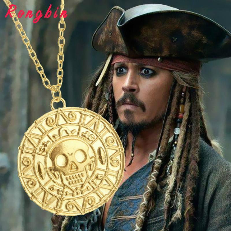 Pirates Of The Caribbean Necklace Jack Sparrow Aztec Coin Medallion Vintage Gold Bronze Silver Pendant Johnny Depp Wholesale