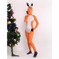 Ainclu Customize Sexy Orance Unisex Deer Lycra Spandex Lovely Zentai Suits Jumpsuit Romper Deer Ear Short Tail