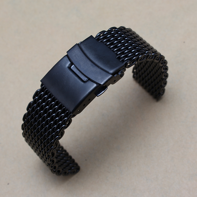Black Stainless steel Watchband Double safty buckle bracelets 20mm 22mm mesh metal wristwatches band stylish fit