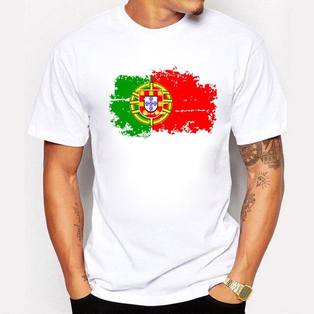 14ecad6a73 Bandeira de Portugal de 2017 de Moda de Nova camisetas de Manga Curta  Camisetas Reminiscência Portugal